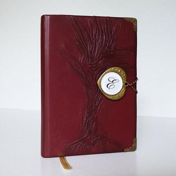 Custom Notebook, Leather Diary, Writing Journal, Tree of Life, Personalized Gift for Women, Girl, Travel Book, Art Journal, Leather Art