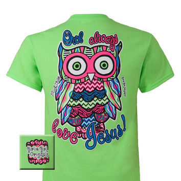 Girlie Girl Originals Owl Mark 12:30 Love Jesus Chevron Christian Bright T Shirt