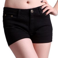 HDE Women's Solid Color Ultra Stretch Fitted Low Rise Moleton Denim Booty Shorts (Black , Medium)