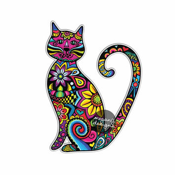 Cat Sticker Car Decal Laptop Decal Bumper Sticker Colorful Flowers Hippie Boho Cute Car Decal Pet Animal Kitten Floral Wall Decal Girly Art