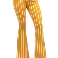"""Ole Mellow Yellow"" Mustard & White Vintage Striped Bell Bottoms"