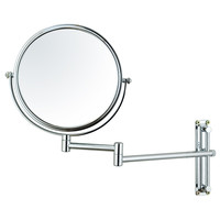 "Adeco 8"" Round Double Sided Makeup Cosmetic Swivel Mirror 3x Magnification Wall Mounted Chrome Finish"