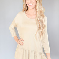 Waverley Peplum Top Sand