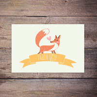 Woodland Thank you Note Card, INSTANT DOWNLOAD, Printable Fox Thank you Card, Gender Neutral, Baby Shower Thank You Notecard