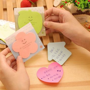 3 PCS/Lot New Style Mini Memo Pads Kawaii Sticky Notes School Stationery Creative Lovely Shape Stickers Candy Color
