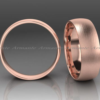 Rose Gold Brushed Wedding Band 6.00mm Wide