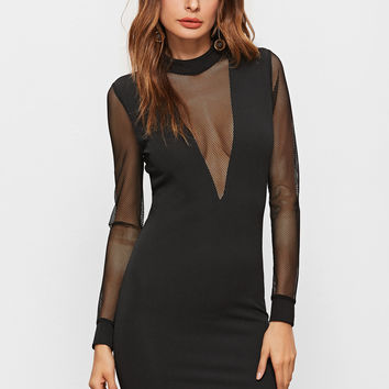 Black Mesh Plunge Neck And Sleeve Zip Back Bodycon Dress | MakeMeChic.COM