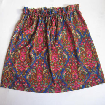 Upcycled  Paisley Print Skirt - Free Size - Artsy Clothing - Modest Skirt