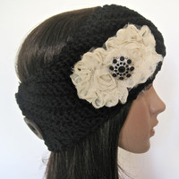 Black Pull Over Knit Ear Warmer Headband Head Wrap  with Ivory Chiffon Flowers and Matching Black Accent