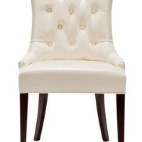 Safavieh Amanda Leather Chair Flat Cream
