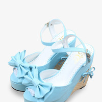 Sweety Bow-Knot Platform Wedge In Sky Blue
