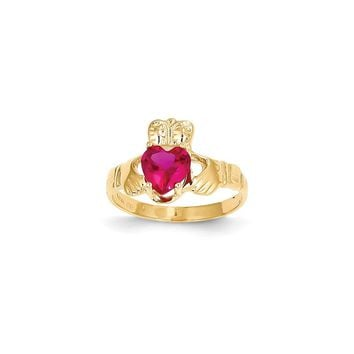 14k Yellow Gold July Birthstone Claddagh Ring