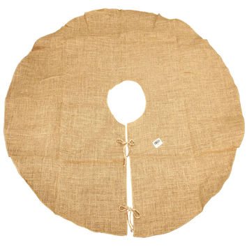 Natural Burlap Christmas Tree Skirt, Round, 60-Inch