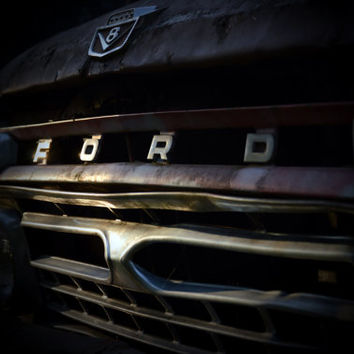 Ford truck photography, 1966 Ford Truck Grill, man cave, garage Ford lover Vintage wall art large poster home decor