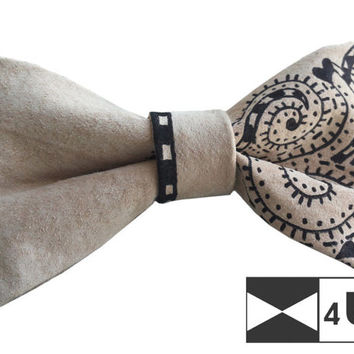 Leather Bow Tie Painted Bowtie with chains Real Suede Necktie Doodle Fancy Special Wedding Bow Tie Groomsmen Bow Tie Man Men Lady Dickie Bow