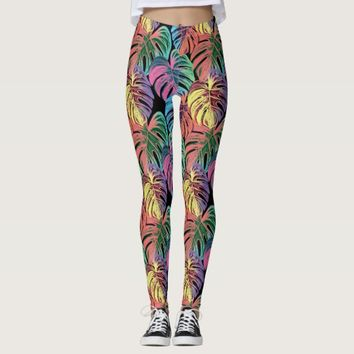 Rainbow Exotic Jungle Tropical Leaves Leggings