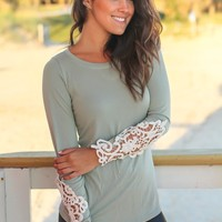 Sage Long Sleeve Top with Crochet Sleeves