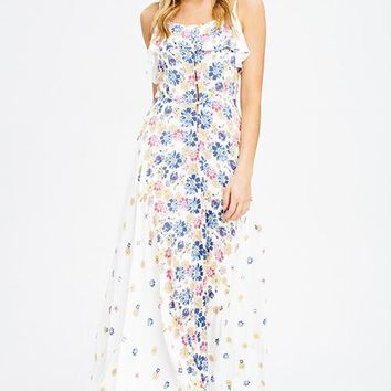 White Floral Ruffle Button Front Maxi Dress