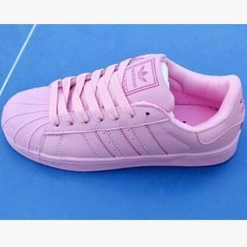 Adidas Fashion Shell-toe Flats Sneakers Sport Shoes Pure color Pink-2