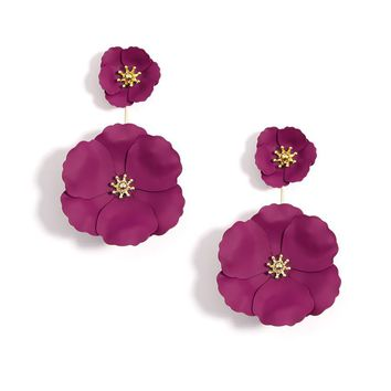 Gold Plated Floral Earrings - Gift for Her - Multiple Color Options Available