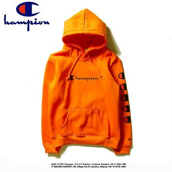Champion autumn and winter models men and women loose hooded long-sleeved sweater Orange