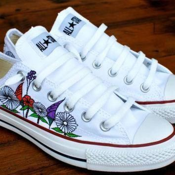 ICIKGQ8 custom hand painted flowers on low top converse chuck taylor all stars