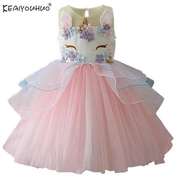 New Kids Dresses For Girls Unicorn Party Dress 2018 Christmas Dress Children Clothing Cosplay Dresses 2 3 4 5 6 7 8 9 10 Years