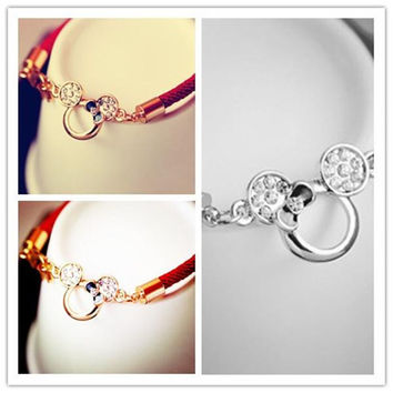 Womens Bracelet Hot Womens Cute Mickey Mouse and Alloy Bracelet Fashion Lady Diamond Ornament and Allergy Bracelet