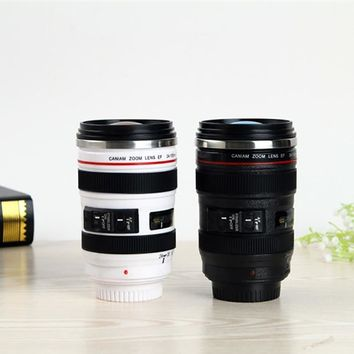 300-400Ml Stainless Steel Camera Lens Mug With Lid New Fantastic Coffee Mugs Tea Cup Novelty Gifts Caneca Lente Cups Drinkware