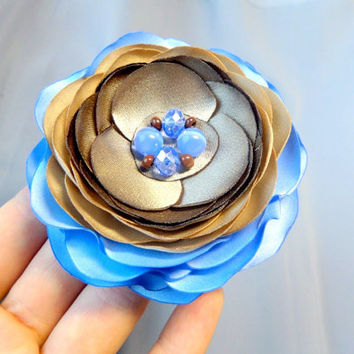 Brooch Flower accessories Flower brooch Accessories for women Silk flower Clip for hair Blue and chocolate flower Wedding