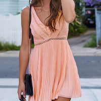 Pink Sleeveless Cut Out Back Pleated Dress