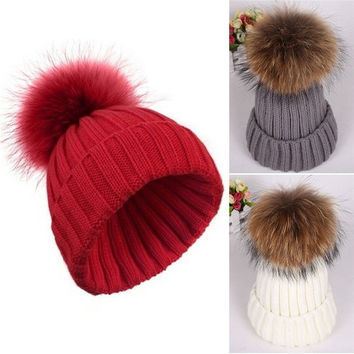 2015 New Fashion winter Hat European pop women 15cm Ovo ball wool cute raccoon Fur Hat beanies thick warm knitted hat High quality = 1932405764