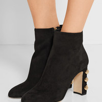 Dolce & Gabbana - Embellished suede ankle boots