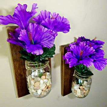 Mason Jar Sconce // Wall Sconce // Mason Jar Wall Decor // Livingroom Decor// Wall Vase // Wall Sconce // Bathroom Organizer // Rustic Decor