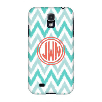 Monogram Samsung case, Monogram Galaxy s4, Grey Bue Chevron Monogram Samsung s4 case, Monogram s3/Note 2 case, Customized Samsung Galaxy