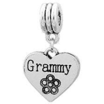 European Charm Metal Bead Word Charm Grammy