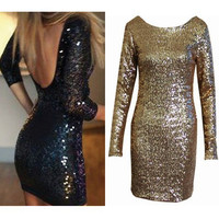 Sequins Tight Backless Package Hip Bodycon Mini Dress