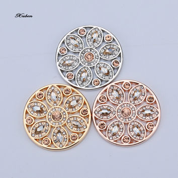 Rose  My Disc 33mm Coin Hollow Out Flower Interchangeable Coin with Crystal Fit for necklace Pendants 35mm frame