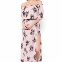 Floral Print Off the Shoulder Crop Top with Maxi Skirt Set