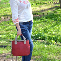 LARGE TOTE BAG, Leather Shoulder Bag, Calf Italian Leather Bag, Laptop Bag, Everyday Bag