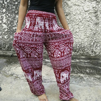 Elephants Printed Yoga Pants Exercise Hippies Harem Baggy Boho Hobo Gypsy Tribal Hipster Plus Size Aladdin Clothing Harem trouser in Red