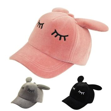 Trendy Winter Jacket 50-54cm Children's Girls Fancy Bunny Ears Baseball Caps Sleeping Eyes Hats Snapback Cosplay Dress Up Party,Dusty Pink Black Gray AT_92_12