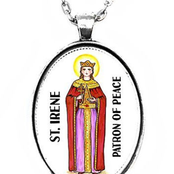 St Irene Patron of Peace Huge 30x40mm Handmade Silver Plated Art Pendant