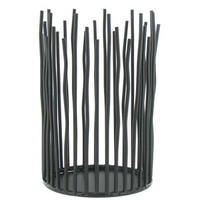 "6"" Tall Black Metal Sticks Pillar Candle Holder 