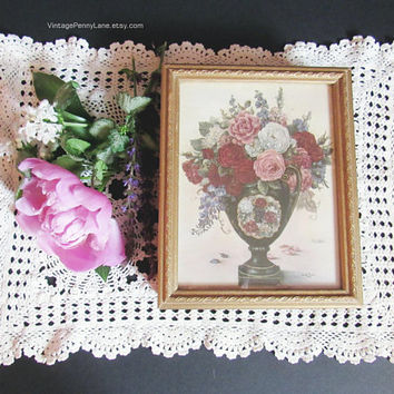 Vintage Wooden Box, Jewelry Box, Trinket Box, Floral Print, Painted Gold Wood