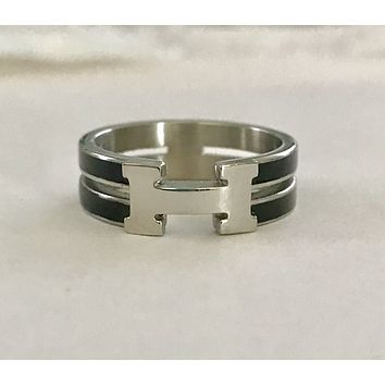 Designer Inspired H Black Enamel & Stainless Steel Ring