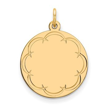 925 Gold Plated Silver Sterling Silver Gold Plated Engraveable Round Polished Disc Charm and Pendant