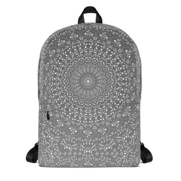 Mandala in Gray Backpack