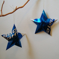 Bud Light Beer Stars Christmas Ornaments Aluminum Can Upcycled Budweiser