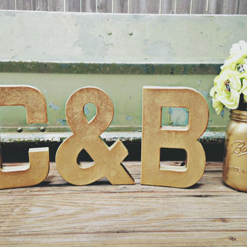 Gold Letters SET, Metallic Gold, Wedding Table Letters - Stand Alone Giant Letter - Wedding Decor - Birthday Decor